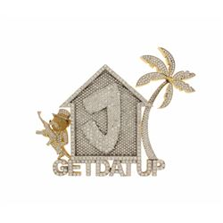 PENDANT:  [1] 10 karat yellow gold 'GETDATUP' pendant set with 1131 round diamonds, approx. 56.40 ca