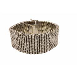 BRACELET:  [1] 14 karat white gold bracelet set with 792 round diamonds,  approx. 39.60 carats total