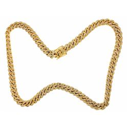 NECKLACE:  [1] 10 karat yellow gold Cuban link chain necklace set with 714 round diamonds, approx. 4
