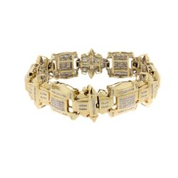 BRACELET:  [1] 14KYG link bracelet set with 270 princess cut and 506 baguette cut diamonds, approx.