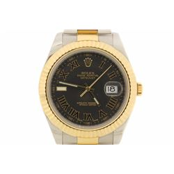WATCH:  [1] Stainless steel & 18KYG gents Rolex Oyster Perpetual Datejust watch with a black dial an