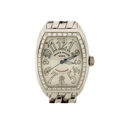 WATCH: Men's Stainless Steel Franck Muller Conquistador Watch; Automatic; (36) RB diamonds, 2.4mm =e