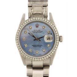 ROLEX: Men's Stainless Steel Rolex Oyster Perpetual DateJust watch; (54) RB diamonds, 1.30mm =est. 0