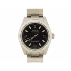 ROLEX: Lady's st.steel Rolex O.P. wristwatch; 31.2mm round case; black dial w/ white stick-Arabic di