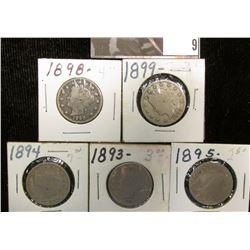 "1893, 1894, 1895, 1898, & 1899 U.S. Liberty ""V"" Nickels, AG-VG."