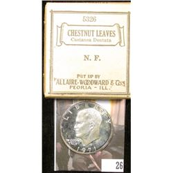 "1971S S Silver Proof Eisenhower Dollar; & Original Box with contents ""Chestnut Leaves Castanea Denta"