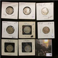 1916 P, 19 P, S, 20 P, 21 P, 23 P, 24 P, & 25 P U.S. Buffalo Nickels in conditions up to Fine, all c