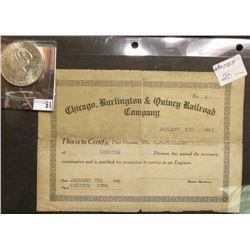 """Chicago, Burlington & Quincy Railroad Company…1913"" Engineer License & 1971 S Silver Proof Eisenhow"