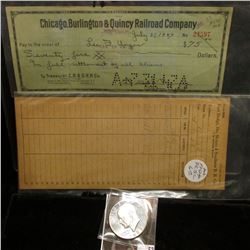 """Receiver Card """"Fort Dodge, Des Moines & Southern R.R. Co.""""; 1947 cancelled check """"Chicago, Burlingto"""