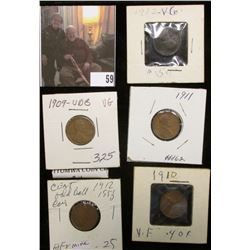 Double-headed Lincoln Cent Coin; 1909 P VDB VG, 10 P VF, 11 P, & 12 P Lincoln Cents.