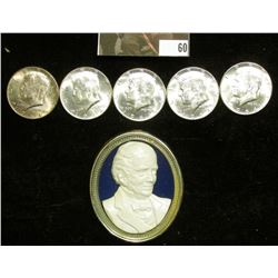 """""""John Deere"""" Bust plaque which appears to have been removed from something; & (5) 1964 P Silver Kenn"""