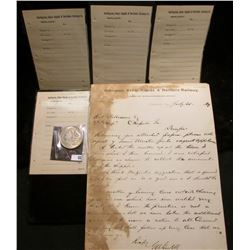 """1889 Letter of Correspondence on stationery from """"Burlington, Cedr Rapids & Northern Railway Assista"""