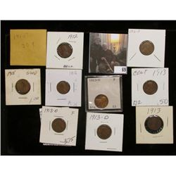 (3) 1912P, (2) 13P, (3) 13D, & (2) 15P Lincoln Cents, grades up to Fine.