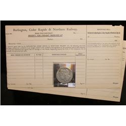 """Several unissued Freight forms from """"Burlington, Cedr Rapids & Northern Railway"""", which 'Doc' sold a"""