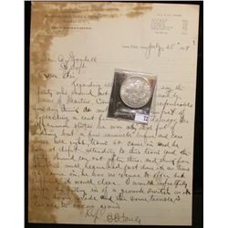 """1889 Letter of Correspondence on stationery from """"Burlington, Cedr Rapids & Northern Railway Train M"""