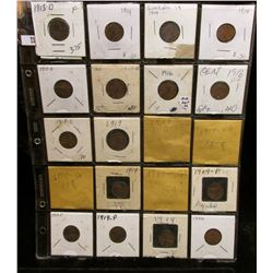 Twenty-pocket Plastic page full of Lincoln Cents dating before 1920.
