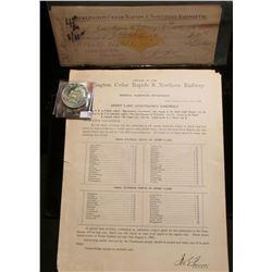 "(18) ""Burlington, Cedar Rapids & Northern Railway Co."" Cancelled checks with Gold Revenue stamps dat"