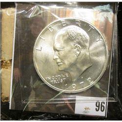 "1972 S Silver Gem BU Eisenhower Dollar; & Original Box with contents ""Life Everlasting Gnabbalium Po"