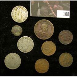 """1854 """"California Gold 1/2"""" Token; Ancient Roman Copper Coin; James A. Garfield Presidential Token; 1"""