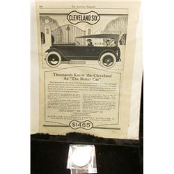 """1921 Newspaper Advertisement for """"Cleveland Six Thousands Know the Cleveland as """"The Better Car…Clev"""