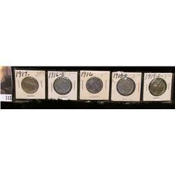 1916P, 16D, 17P, 18D, & 19D Buffalo Nickels, all grading Good to Fine.