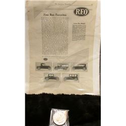 "1921 Newspaper Advertisement for ""Five Reo Favorites…Reo Motor Car Company Lansing, Michigan""; & 192"