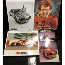 (5) 1985 era Bill Elliot Coors/Melling Thunderbird Nascar Stock Car memorabilia including an autogra