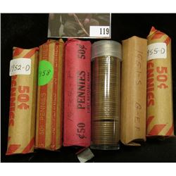 Solid date circulated Rolls of U.S. Wheat Cents including 1930D, 38P, 51S, 52D, 55D, & 58P. (6 rolls