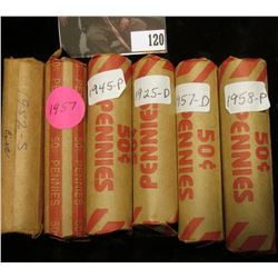 Solid date circulated Rolls of U.S. Wheat Cents including 1925D, 45P, 52S, 57P, 57D, & 58P. (6 rolls