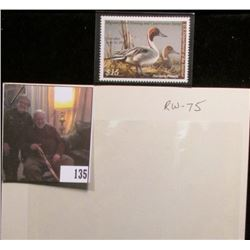 2009 RW75 Federal Migratory Bird Hunting and Conservation $15.00 Stamp, not signed, Very Fine.