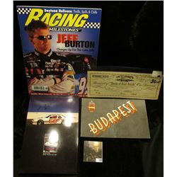 """Jomo Racing Post card; autographed photo card Tony Spanos race car driver; 1949 Withdrawal Receipt """""""