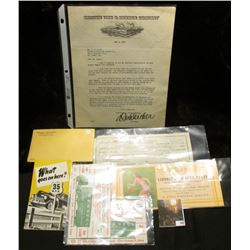 1930 autographed letter from the President of Samson Tire & Rubber Company on original letter head;