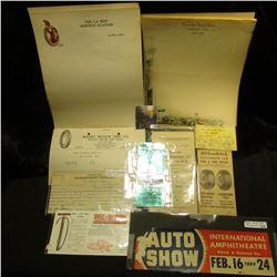 "Several pieces of stationery from ""The La Rue Service Station La Rue, Ohio""; 1940 ""Auto Show Interna"