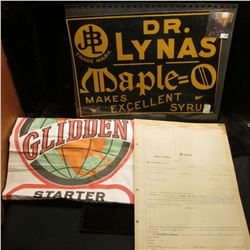 """(14) Unused forms from the early 1900s """"Certificate of Protest""""; Quack Doctor sign """"Dr. Lynas Maple="""