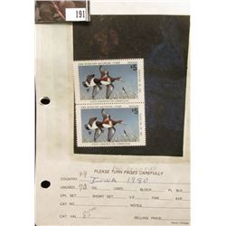 Attached pair of 1980 IA9 Iowa $5 Migratory Waterfowl Stamps, Mint condition, unused and unsigned.