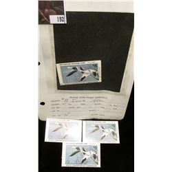 (4) 1982 IA11 Iowa $5 Migratory Waterfowl Stamps, all mint, unused except one, which has been signed