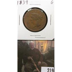 1839 U.S.. Large Cent, Good.