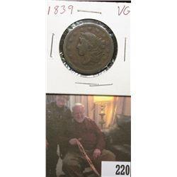 1839 U.S.. Large Cent, Very Good, mild damage to reverse..