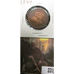 1844 U.S. Large Cent, VG. Damaged.