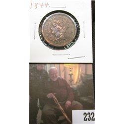 1844 U.S. Large Cent, EF, discolored.
