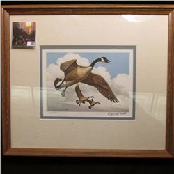 "12"" x 14"" Oak framed Maynard Reece 1983 Print No. 352/950 of a Painting of Canada Geese. Hand signed"