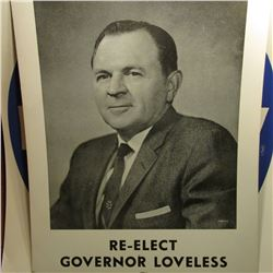 "17"" x 22"" Poster ""Re-Elect Governor Loveless""; 22"" x 23"" ""Mezvinsky"" Poster; & 1923 S U.S. Peace Sil"