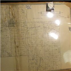"17"" x 28.75"" ""Map of Center"" (Tipton, Iowa) Approximately 70-80 years old & 1922 D U.S. Peace Silver"