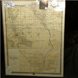1875 Map of Bremer County & Plan of Waverly Bremer County (Iowa); & 1922 P U.S. Peace Silver Dollar,