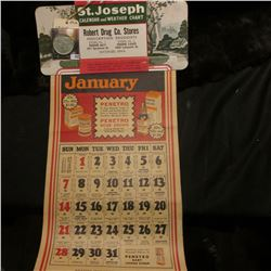 "1945 Calendar ""St. Joseph Calendar and Weather Chart Robert Drug Co. Stores…Waterloo, Iowa"" with all"