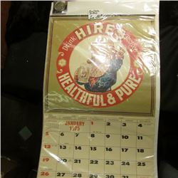 "1975 ""Drink Hires Rootbeer Healthful & Pure"" Calendar; & 1922 D U.S. Peace Silver Dollar, EF."