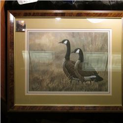 "20"" x 24"" Matted and Framed Print of a Pair of Canada Geese."