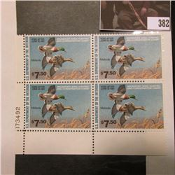 1980 Line numbered LL Plateblock of four RW47 Federal Migratory Waterfowl $7.50 Stamps. Mint conditi