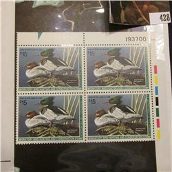 1994 UR Line numbered Plateblock of four RW61 Federal Migratory Waterfowl $15.00 Stamps. EF.