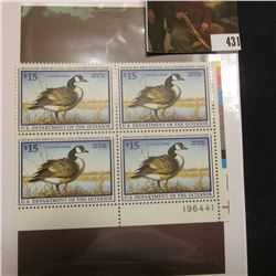 1997 LR Line numbered Plateblock of four RW64 Federal Migratory Waterfowl $15.00 Stamps. EF.